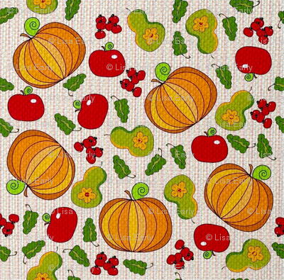Fall harvest on a dotted background