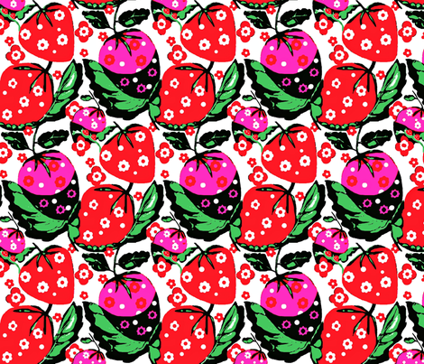 strawberry bunch 5 fabric by dk_designs on Spoonflower - custom fabric