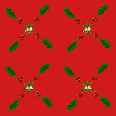 Christmas Holly with Bells fabric by ravynscache on Spoonflower - custom fabric