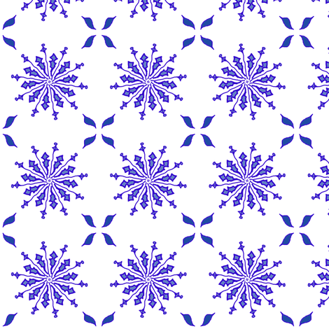Blue Snowflake fabric by ravynscache on Spoonflower - custom fabric