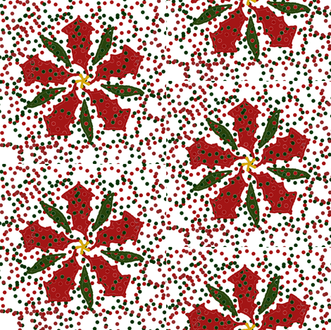 Dotted Christmas Poinsettia fabric by ravynscache on Spoonflower - custom fabric