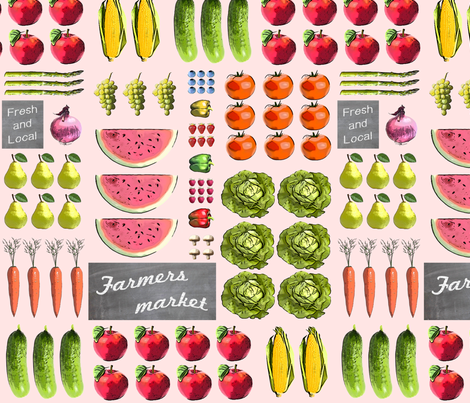 Fresh and local farmers market fabric by lucybaribeau on Spoonflower - custom fabric