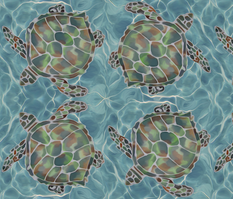 Caribbean Sea Turtles fabric by lauriekentdesigns on Spoonflower - custom fabric