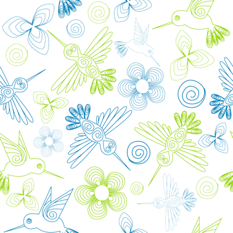 quilled_bird_bluegreen fabric by loopy_canadian on Spoonflower - custom fabric