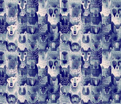Indigo Wolf Pack fabric by caitlinclarkson on Spoonflower - custom fabric