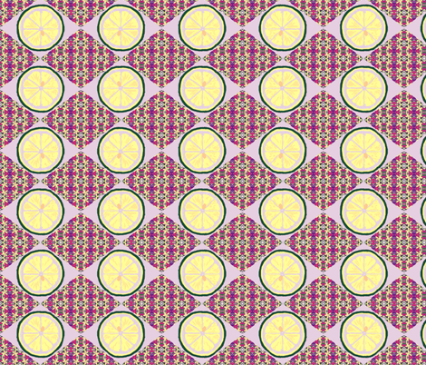 Citrus Blossoms and Cool Fruit Slices - lavender fabric by walkwithmagistudio on Spoonflower - custom fabric