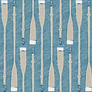 Oars in the water - blue, grey, white