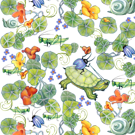 underbrush turtle riding fabric by golders on Spoonflower - custom fabric