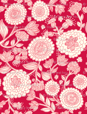 line_flowers_red