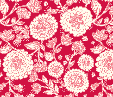 line_flowers_red fabric by stacyiesthsu on Spoonflower - custom fabric