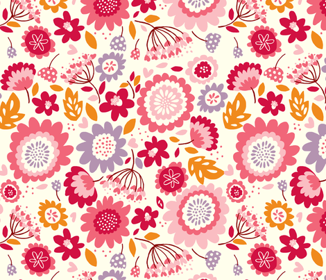Dancing_Flowers_pink fabric by stacyiesthsu on Spoonflower - custom fabric