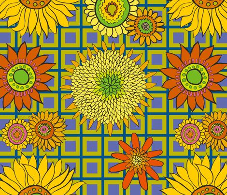 sunflower_fabric_chartreuse-blue-purple fabric by kristin_nicholas on Spoonflower - custom fabric