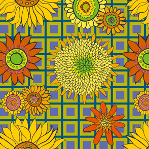 sunflower_fabric_chartreuse-blue-purple