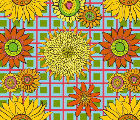 Sunflowers - Salmon Turquoise Check fabric by kristin_nicholas on Spoonflower - custom fabric