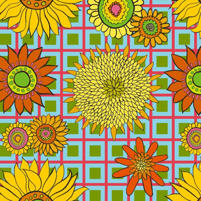 Sunflowers - Salmon Turquoise Check