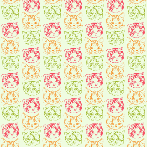 Cat Stack | Color | Smaller fabric by imaginaryanimal on Spoonflower - custom fabric