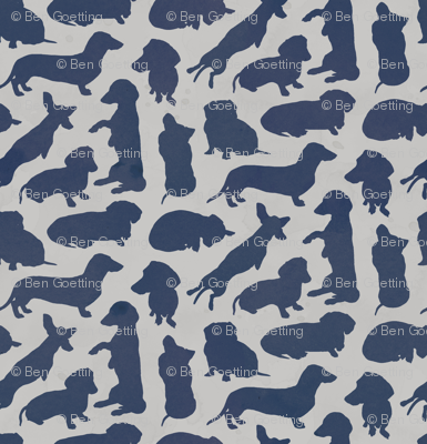 Dachshund Party Navy Grey Watercolor