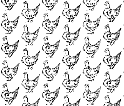Inkblot French Hen fabric by art_rat on Spoonflower - custom fabric