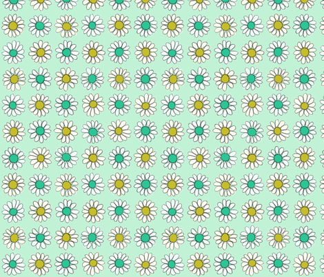 Retro Daisy | Gold/Teal/Mint fabric by imaginaryanimal on Spoonflower - custom fabric