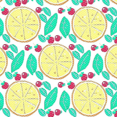 lemon,mint and cherry fruit fabric by dk_designs on Spoonflower - custom fabric