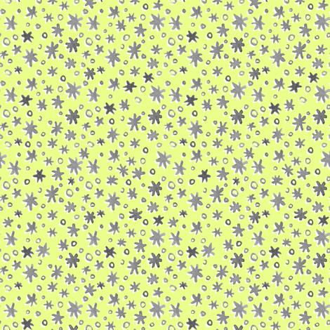 Stars and Dots | Citron Yellow/Green fabric by imaginaryanimal on Spoonflower - custom fabric