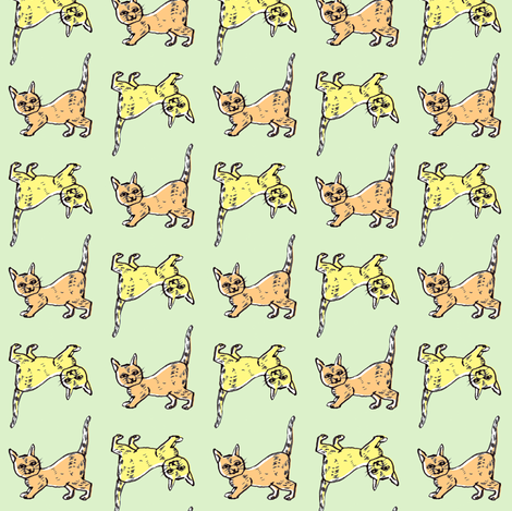 Back to Back Cats | Green fabric by imaginaryanimal on Spoonflower - custom fabric
