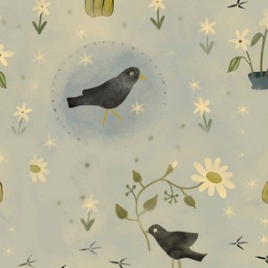 Autumn Mist With Crows