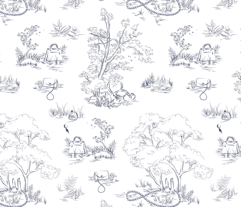 Fashion Toile Navy fabric by emmakisstina on Spoonflower - custom fabric