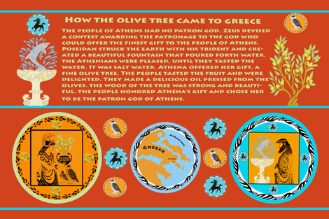 Myth of the Greek Olive Tree fabric by mei-moi on Spoonflower - custom fabric