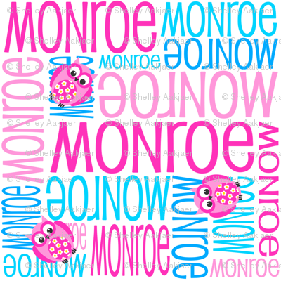 Personalised Name Fabric - Owls in Pink and Aqua