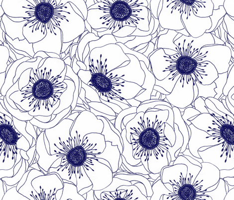White Anemones - Navy fabric by pattysloniger on Spoonflower - custom fabric