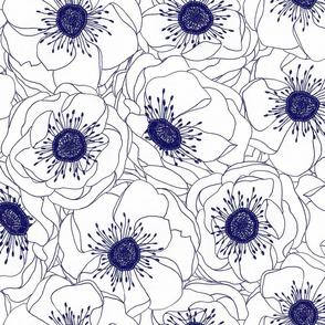 White Anemones - Navy
