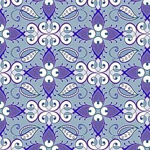 Lattice, weathered violet on faded blue