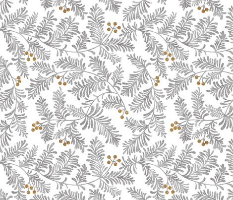 Glitter branches- Silver and Gold fabric by cynthiafrenette on Spoonflower - custom fabric