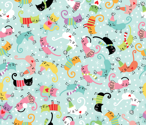 Merry Cats fabric by cynthiafrenette on Spoonflower - custom fabric