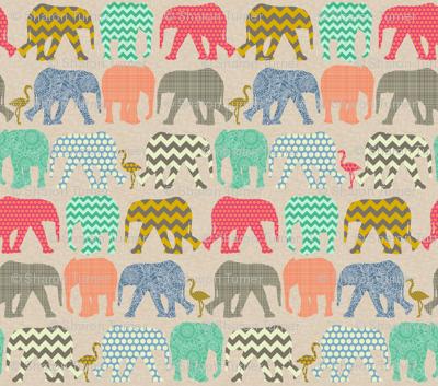 tiny linen baby elephants and flamingos