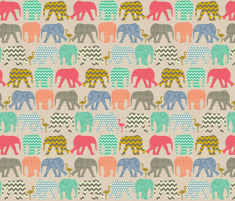 tiny linen baby elephants and flamingos fabric by scrummy on Spoonflower - custom fabric