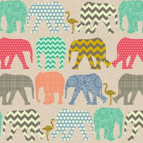 tiny linen baby elephants and flamingos