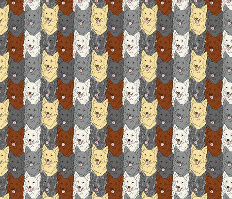 Happy Mudi faces fabric by rusticcorgi on Spoonflower - custom fabric
