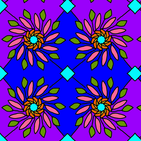Stained Glass Flower fabric by ravynscache on Spoonflower - custom fabric