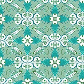 Lattice, weathered teal and green