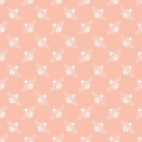 Baby Bee in White Diagonal on Peach