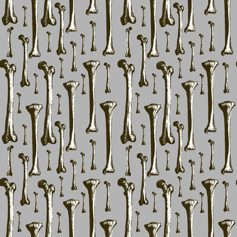 White bones on grey  fabric by susiprint on Spoonflower - custom fabric
