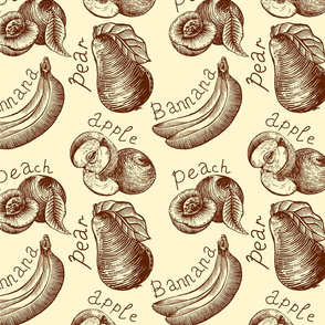 seamless pattern of fruits sketch