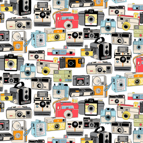 Make It Snappy! (Mini) || vintage camera illustrations analog photography film photo photographer fabric by pennycandy on Spoonflower - custom fabric