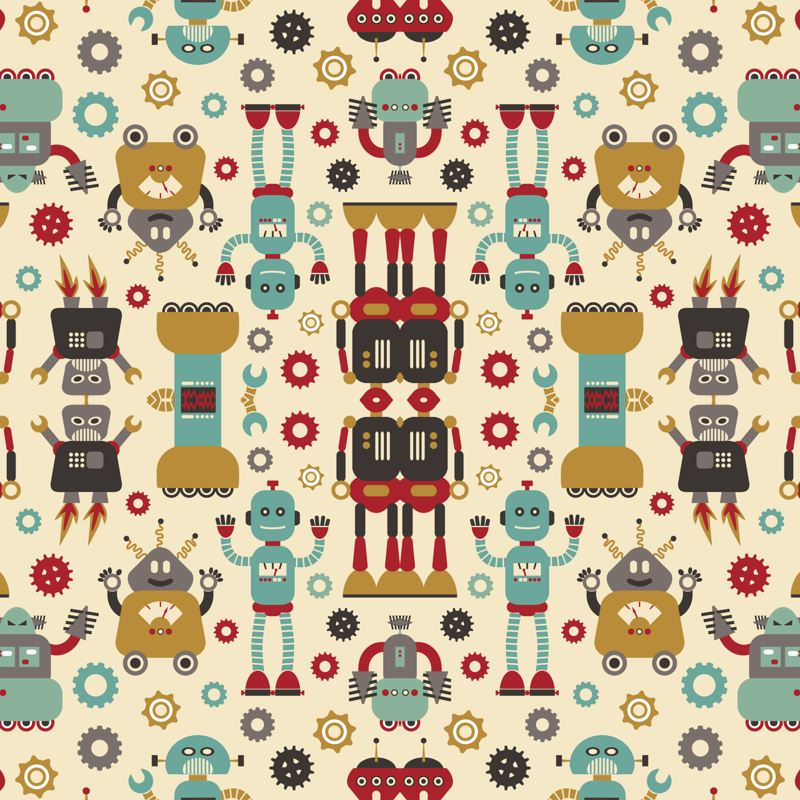robot rug retro robots on cream wallpaper cynthiaarre spoonflower