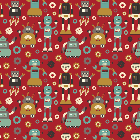 Retro Robots on Red fabric by cynthia_arre on Spoonflower - custom fabric