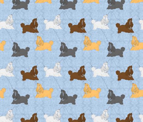 Tug of war Miniature Poodles - blue fabric by rusticcorgi on Spoonflower - custom fabric