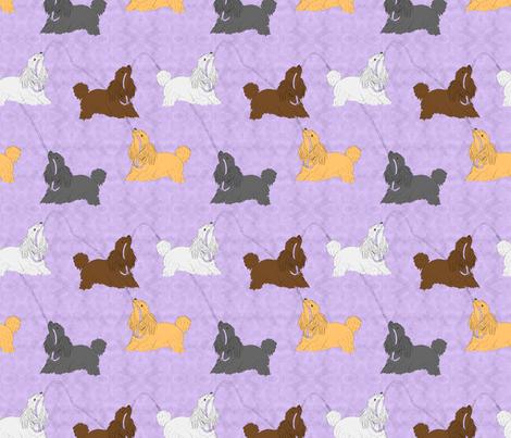 Tug of war Miniature Poodles - purple fabric by rusticcorgi on Spoonflower - custom fabric