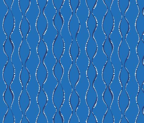 Bubble Waves - cornflower & navy fabric by jillbyers on Spoonflower - custom fabric
